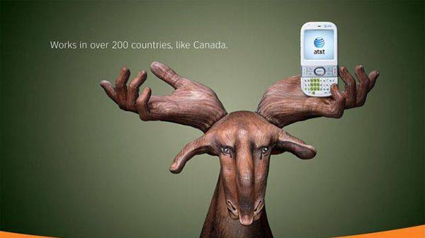 23 creative ads by AT&T [hand-modelling advertisements] - Canadian reindeer