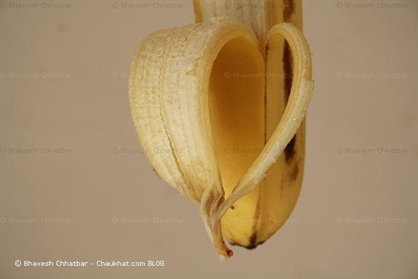 Heart shape formed peeling a banana