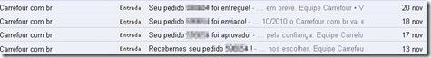 E-mails Recebidos entrega carrefour