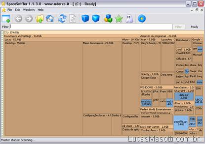 spacesniffer, determine espaço hd, utilização hd