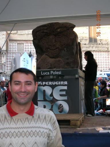 Escultura de chocolate na Eurochocolate, em Perugia
