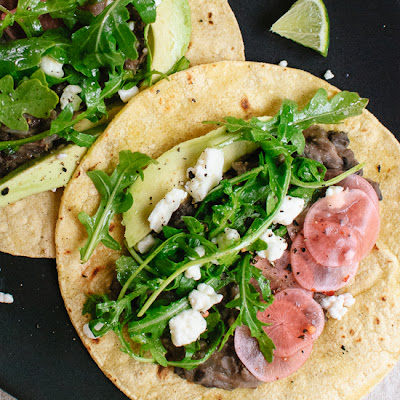 Vegetarian Arugula and Black Bean Tacos with Pickled Radish and Feta