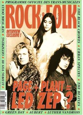 Jimmy Page et Robert Plant en couverture de Rock & Folk en 1994