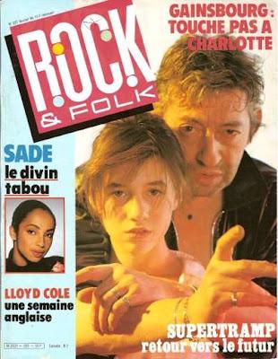 Charlotte et Serge Gainsbourg en couverture de Rock & Folk en 1986