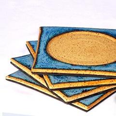 Seafoam Blue Zehava Coasters by glazedOver Pottery