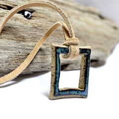 eclectic geometric stoneware indie pendant by glazedOver Pottery blue square 2