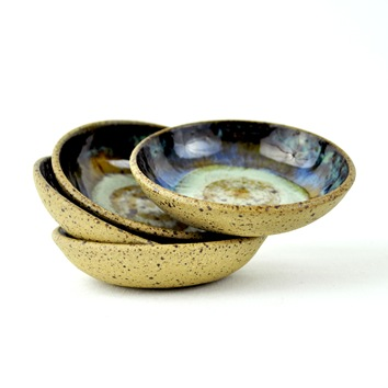 Blue and Green mini dipping bowls by glazedOver Pottery 3