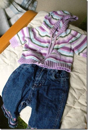 jeans and sweater 3-6 mos