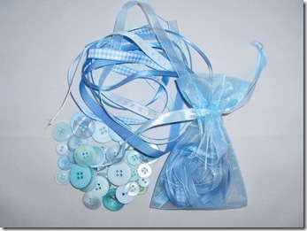 Ribbon & button bag blueed