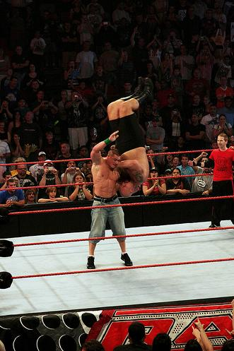 wwe raw john cena pictures. John Cena lifting near 500 lbs