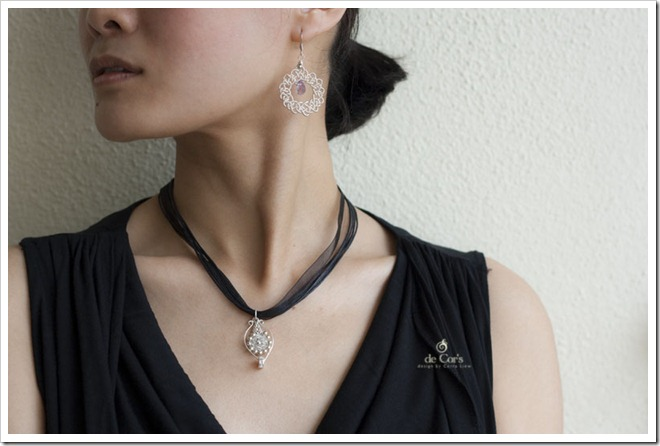 Wired Chinese Knot, PIPA Pendant, JiaSha Earrings
