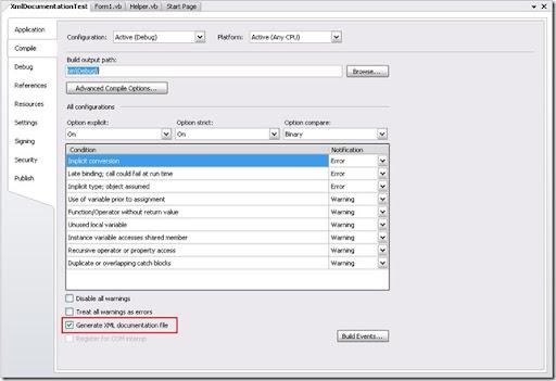 Generate Xml Documentation