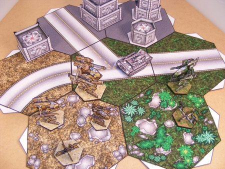 Hex Grid with Mech Attack Miniatures and Terrain (sold separately)