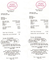 Receipts 29 Apr 2009