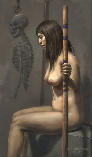 nude with skeleton