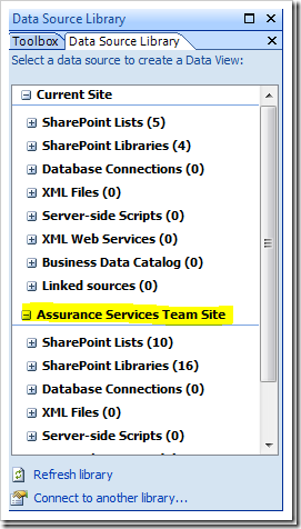 How to display a SharePoint List from another site using the Data View Web Part