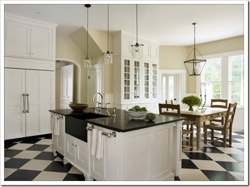 eric_roth_kitchen_white_traditional_cabinets_check_checkered_tile_floor_black_granite_countertops_lantern_pendant_light_chandelier_farmhouse_table-1