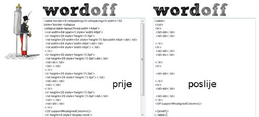 Word Off besplatni online alat HTML