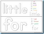 Color By Number Sight Words for little
