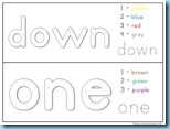 Color By Number Sight Words down one
