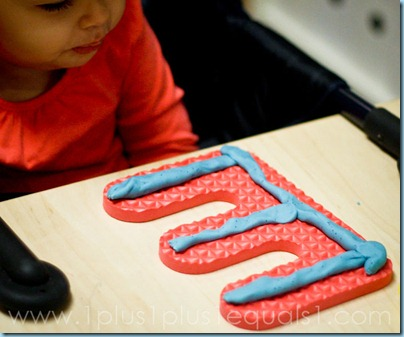Foam Letters with Play Dough