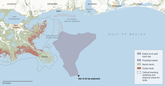 Tracking the Oil Spill: The map sequence shows how the oil spill has been spreading in the Gulf of Mexico. Each day's outline reflects the most current estimate by the National Oceanic and Atmospheric Administration for the extent of the spill on that day. By The New York Times. Sources: National Oceanic and Atmospheric Administration, U.S. Coast Guard