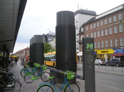 Bicyclus solar-powered bike sharing system in Copenhagen. via psfk.com