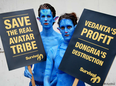 Two Na'vi protested outside Vedanta's AGM, 28 July 2010. © Survival