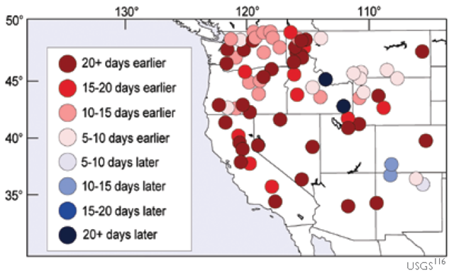 Onset Date of Spring Runoff Pulse in the US West. USGS 2005 via globalchange.gov