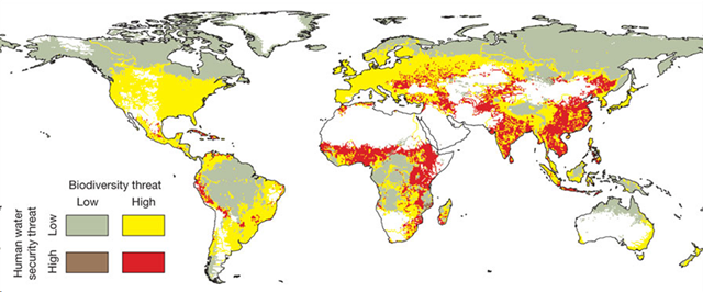 Prevailing Patterns of Threat to Human Water Security and Biodiversity in 2010. Vörösmarty, et al, 2010
