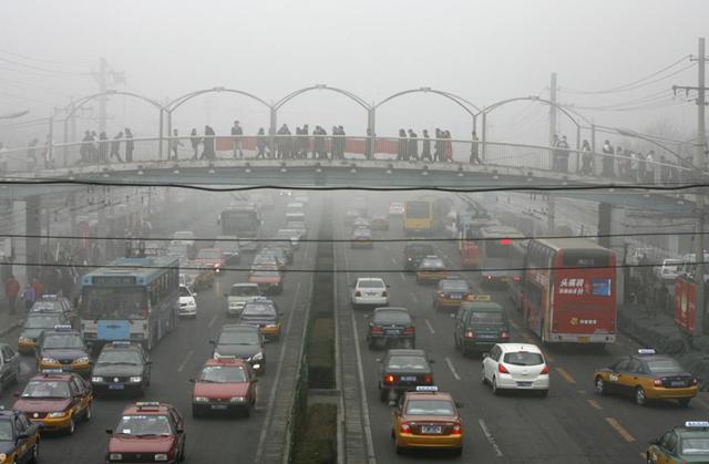 Air pollution in Beijing, China.  ecoautoninja.com