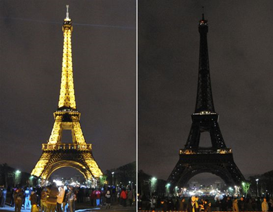 The Eiffel tower submerging into darkness in Paris as part of the Earth Hour switch-off in 2010. Getty Images