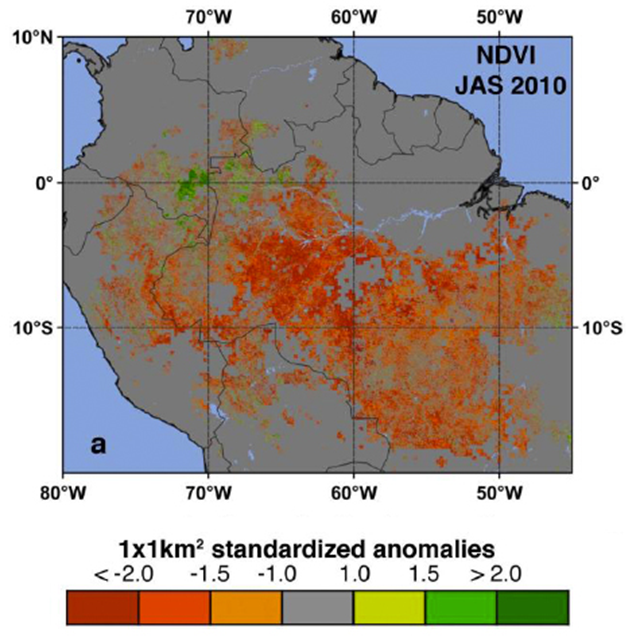 NASA satellite sensors, such as MODIS, show an average pattern of greenness of vegetation on South America. Red and orange identify areas where satellite measurements indicated reduced Normalized Difference Vegetation Index (first index of greenness) of the Amazon forest during the 2010 drought. Boston University / NASA