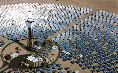A solar power plant in the Mojave desert. Photograph: AP