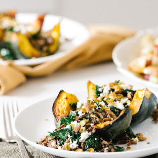 Roasted Acorn Squash with Wild Rice Pistachio Stuffing
