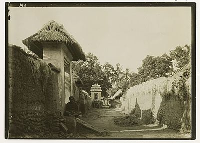 Bali historic pictures alley between houses in bali 1920 for Yoruba architecture
