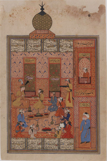 "This text describes an episode from the ""Haft Paykar"" (Seven Thrones) of Nizami (d. 614/1218), the fourth book from his ""Khamsah"" (Quintet). In this romantic allegory of love and frustration, the Sassanian ruler Bahram Gur (r. 420-438) visits seven pavilions on each of the seven days of the week. The verses are executed in black nasta'liq script in four columns separated by gold gutters."