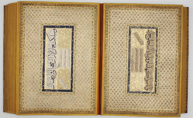 The calligraphic panels are arranged in matching pairs with identical illumination, mounted on double-page spreads. The work in this album was done by Indian scribes active during the reign of the Mughal emperor Awrangzeb.