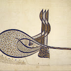 The Ottoman tughra is a calligraphic emblem of the sultan's authority that was included in all official documents, such as firmans (royal decrees), endowment papers, correspondence, and coins. Used by the first Ottoman sultan in 1324, it later developed into a more complex form that included three vertical shafts and two concentric oval loops on the left. It consists of the name of the reigning sultan, his father's name, his title, and the phrase &quot;the eternally victorious.&quot; This unique calligraphic emblem was not easily read or copied. Therefore, a specific court artist was designated to draw the undecorated, standard tughra. A court illuminator assisted him in the exquisite decoration of the tughra on certain imperial documents. The illuminator's delicate scroll design and naturalistic flowers enhance the harmonious lines of calligraphy, creating a colorful voluminous effect.