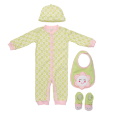 Smiling Flower 4-Piece Union Suit Set