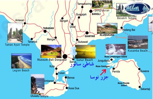 الخريطة السياحية جزيرة بالي