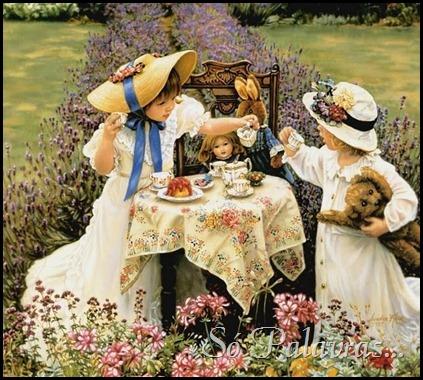 meninas brincando de chá