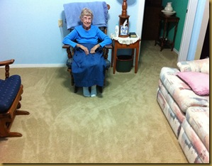 My mother and her new carpet