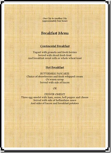 Breakfast Menu Example