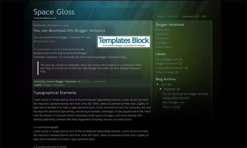 Space Gloss blogger template