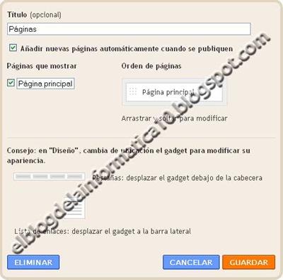 Gadget Páginas en Blogger - Configuración gadget