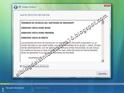 Instalación de Windows Vista