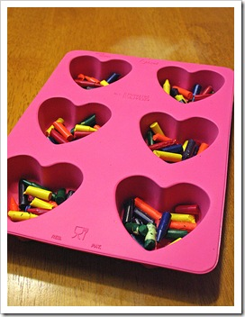 Crayons in heart pan