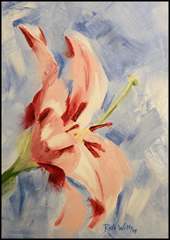 Royal Lily, open acrylics on Gessobord
