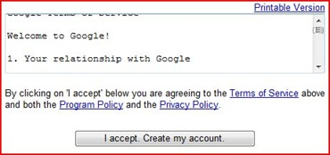 Accept and create Gmail